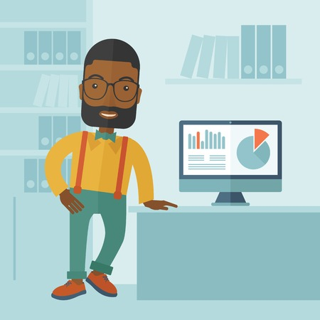 african business: An african-american guy standing  while presenting a graph in business from his computer inside his office. Leadership concept. A contemporary style with pastel palette soft blue tinted background. Vector flat design illustration. Square layout.