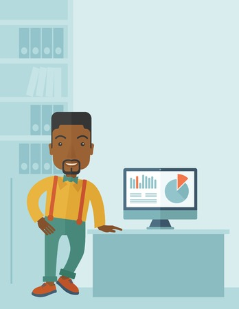 male symbol: An african-american guy standing  while presenting a graph in business from his computer inside his office. Leadership concept. A contemporary style with pastel palette soft blue tinted background. Vector flat design illustration. Vertical layout with tex