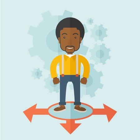 guy standing: A black guy businessman standing on three ways arrows for selection. Business concept. A contemporary style with pastel palette soft blue tinted background. Vector flat design illustration. Square layout.