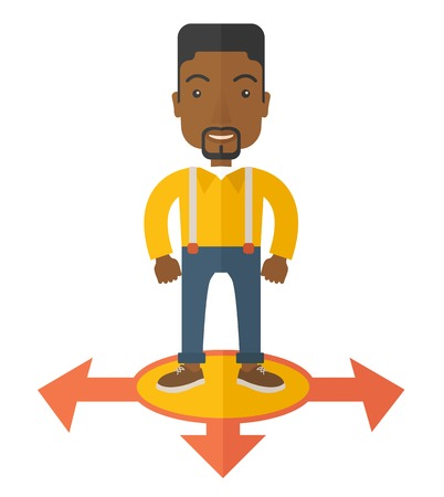 guy standing: A black guy businessman standing on three ways arrows for selection. Business concept. A Contemporary style. Vector flat design illustration isolated white background. Square layout