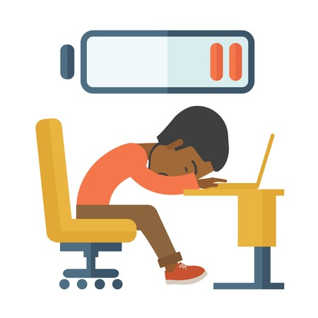 A tired black employee fall asleep at his desk with sign of low batt on the top of his head. A Contemporary style. Vector flat design illustration isolated white background. Square layout. Illustration