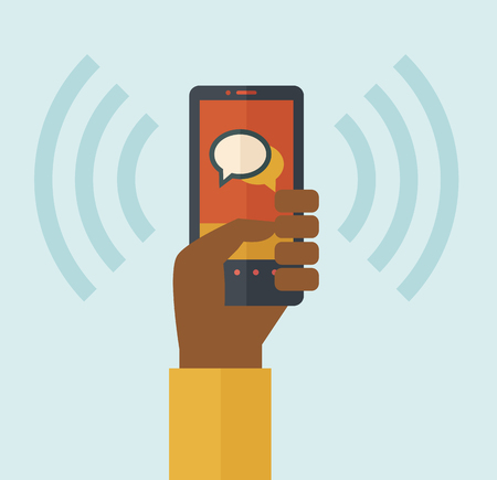 cellphone in hand: A hand holding a smartphone vibrating. A contemporary style with pastel palette soft blue tinted background. Vector flat design illustration. Square layout. Illustration