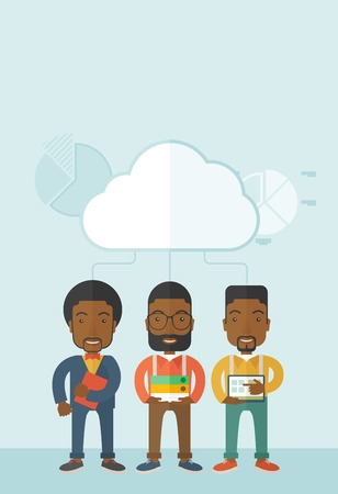 Three black men standing under the cloud holding book files, notebook and tablet ready for their business presentation. A contemporary style with pastel palette soft blue tinted background with desaturateds clouds. Vector flat design illustration. Vertica