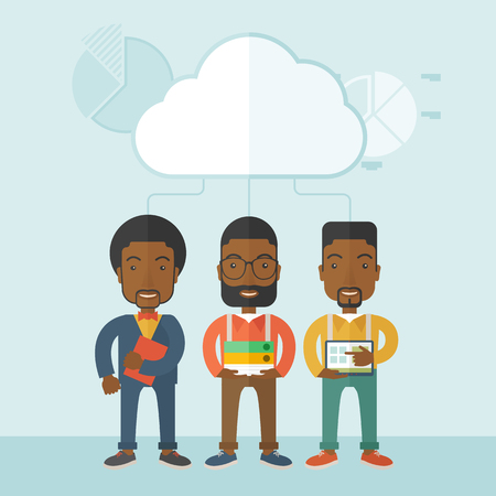 Three black men standing under the cloud holding book files, notebook and tablet ready for their business presentation. A contemporary style with pastel palette soft blue tinted background with desaturated clouds. Vector flat design illustration. Square l