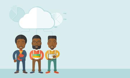 using tablet: Three black men standing under the cloud holding book files, notebook and tablet ready for their business presentation. A contemporary style with pastel palette soft blue tinted background with desaturated clouds. Vector flat design illustration. Horizont