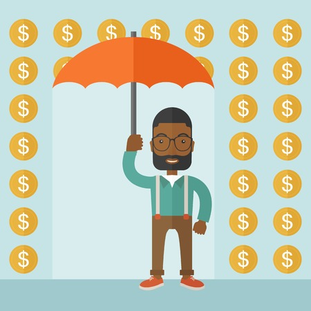 A happy Businessman with umbrella under a rain of dollar coin. A contemporary style with pastel palette soft blue tinted background. Vector flat design illustration. Square layout. Vector