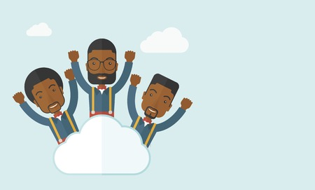 Three businessmen on top of the cloud raising their arms shows that they are happy for their success in business. A contemporary style with pastel palette soft blue tinted background with desaturated clouds. Vector flat design illustration. Horizontal lay
