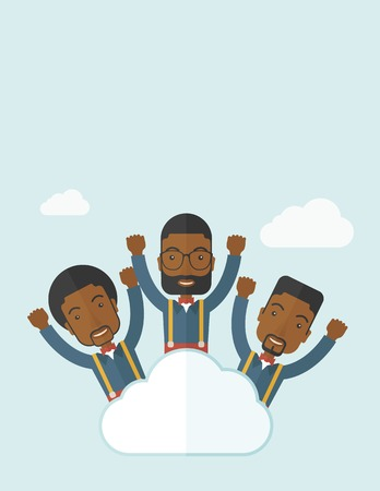 Three businessmen on top of the cloud raising their arms shows that they are happy for their success in business. A contemporary style with pastel palette soft blue tinted background with desaturateds clouds. Vector flat design illustration. Vertical layo Ilustração
