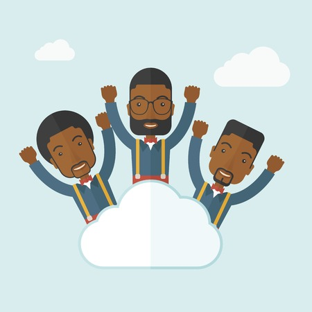 Three businessmen on top of the cloud raising their arms shows that they are happy for their success in business. A contemporary style with pastel palette soft blue tinted background with desaturateds clouds. Vector flat design illustration. Square layout Ilustração