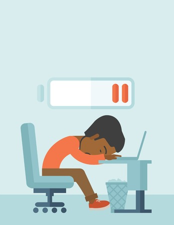A tired black employee fall asleep at his desk with sign of low batt on the top of his head. A contemporary style with pastel palette soft blue tinted background. Vector flat design illustration. Vertical layout with text space on top part.