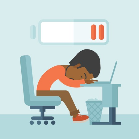 A tired black employee fall asleep at his desk with sign of low batt on the top of his head. A contemporary style with pastel palette soft blue tinted background. Vector flat design illustration. Square layout.
