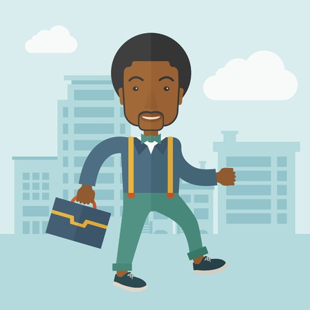 A Young businessman walking through the citys streets to attend a business meeting carrying a briefcase. A contemporary style with pastel palette soft blue tinted background with desaturateds clouds. Vector flat design illustration. Square layout. Vettoriali