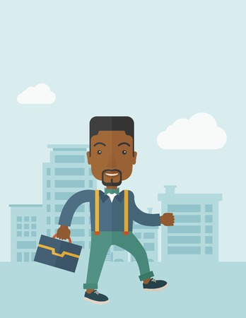 A Young businessman walking through the citys streets to attend a business meeting carrying a briefcase. A contemporary style with pastel palette soft blue tinted background with desaturateds clouds. Vector flat design illustration. Vertical layout with t