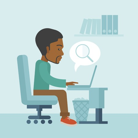 jobless: A black american sitting infront of the computer with magnifying glass looking for a job online. A contemporary style with pastel palette soft blue tinted background. Vector flat design illustration. Square layout.