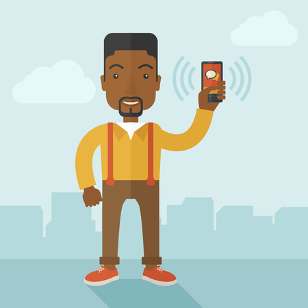 african american ethnicity: An office worker holding his smartphone vibrating. A contemporary style with pastel palette soft blue tinted background with desaturated clouds. Vector flat design illustration. Square layout.