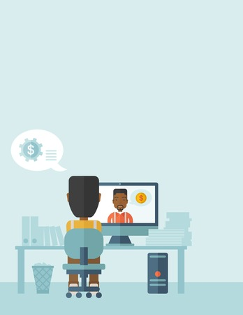 conversation: Two black businessmen is having a conversation in online set up, talking about business plan. Partnership concept.  A contemporary style with pastel palette soft blue tinted background. Vector flat design illustration. Vertical layout with text space on t