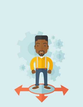 guy standing: A black guy businessman standing on three ways arrows for selection. Business concept.A contemporary style with pastel palette soft blue tinted background. Vector flat design illustration. Vertical layout with text space on top part.