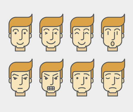 human face: Men face with different expressions and colored hair in front view.  A contemporary style. Vector flat design illustration with isolated white background. Horizontal layout Illustration