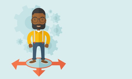 guy standing: A black guy businessman standing on three ways arrows for selection. Business concept.A contemporary style with pastel palette soft blue tinted background. Vector flat design illustration. Horizontal layout with text space in right side.
