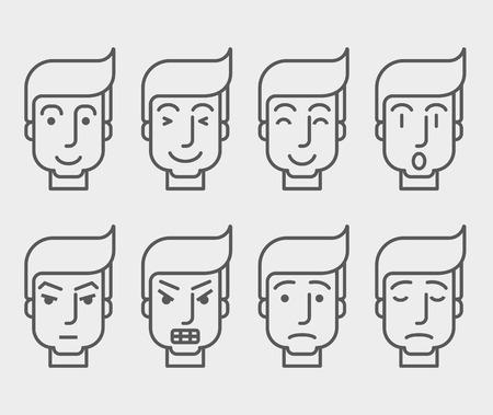 carita feliz caricatura: Los hombres se enfrentan con diferentes expresiones en la vista frontal. Un estilo contemporáneo. Vector diseño plano ilustración con fondo blanco aislado. Horizontal diseño