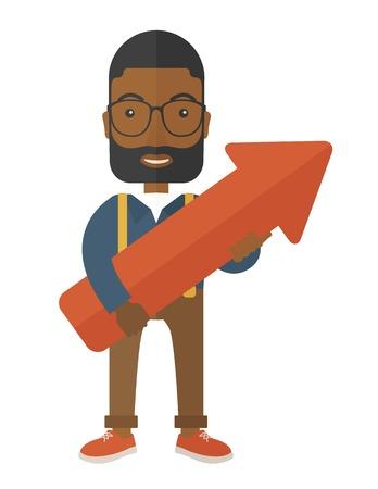 black guy: Un joven hombre negro que sostiene la flecha creciente signo feliz y afortunado