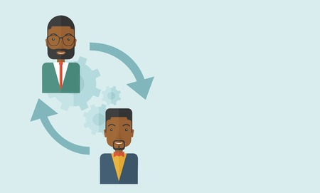 flexible business: Two black men in exchanging ideas Illustration