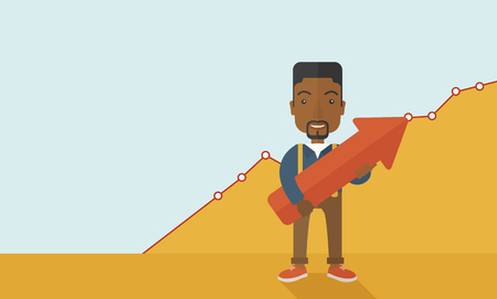 financial success: A happy and lucky young black guy holding arrow growing sign Illustration