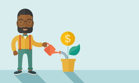 management concept: A happy african business person watering a growing plant with money flower