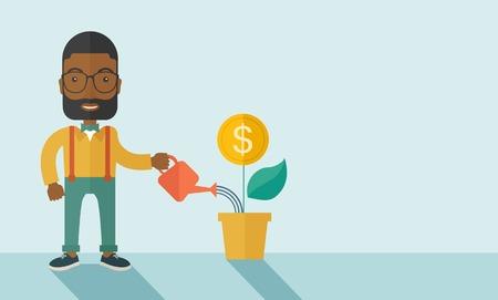 persona feliz: Una persona de negocios africano feliz regar una planta que crece con la flor del dinero