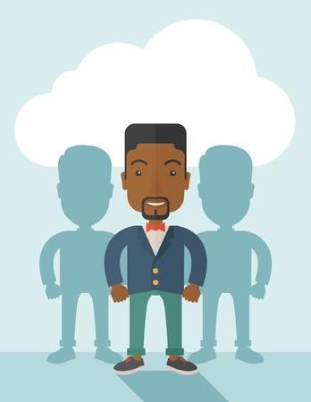black guy: Un chico negro muy seguro de pie recta