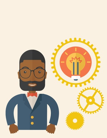 An african company officer with gear have a strong marketing strategy to share in company. Leadership concept.  A Contemporary style with pastel palette, soft beige tinted background. Vector flat design illustration. Vertical layout with text space on top