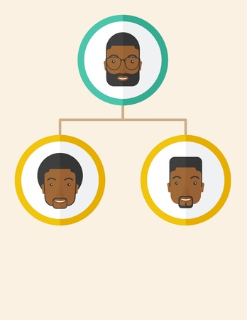 discussion forum: A group of african gather to have a business meeting and brainstorming. Business group concept. .  A Contemporary style with pastel palette, soft beige tinted background. Vector flat design illustration. Vertical layout with text space at bottom part.