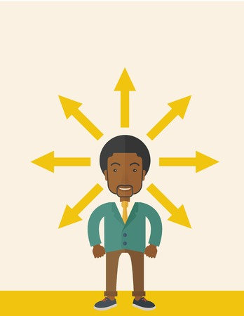 A black businessman being confused with too many directions, presenting with arrows, to make decision. A Contemporary style with pastel palette, soft beige tinted background. Vector flat design illustrations. Vertical layout with text space on top part.
