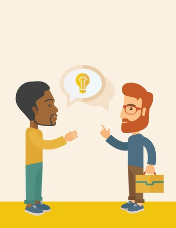 exchanging: A two businessmen black and white american exchanging ideas of what project they want to put up. Business plan concept. A Contemporary style with pastel palette, soft beige tinted background. Vector flat design illustration. Vertical layout with text spac