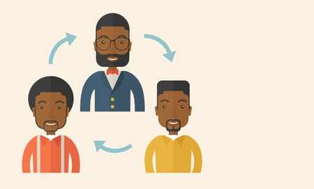 A smiling group young african are in brainstorming for their marketing presentation. teamwork concept. A Contemporary style with pastel palette, soft beige tinted background. Vector flat design illustration. Horizontal layout with text space in right side