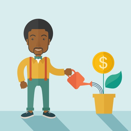 business person: A happy african business person watering a growing plant with money flower. Growing business concept. A contemporary style with pastel palette soft blue tinted background. Vector flat design illustration. Square layout. Illustration