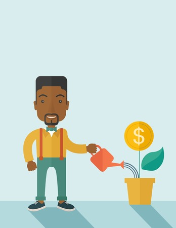 growing business: A happy african business person watering a growing plant with money flower. Growing business concept. A contemporary style with pastel palette soft blue tinted background. Vector flat design illustration. Vertical layout with text space on top part. Illustration