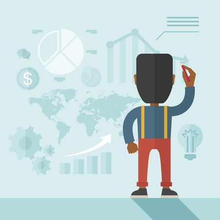 An african- american goodlooking  finance officer facing backward with his presentation, a graph, pie chart, dollar coin and map on the board. Business strategy concept.  A contemporary style with pastel palette soft blue tinted background. Vector flat de Illustration