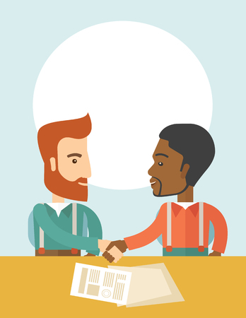 lay: A white and black american businessmen handshaking and  having a business meeting with a contract to be sign. Business partnership concept. A contemporary style with pastel palette soft blue tinted background. Vector flat design illustration. vertical lay Illustration