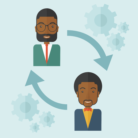 Two black men in exchanging ideas. Partnership concept. A contemporary style with pastel palette soft blue tinted background. Vector flat design illustration. Square layout.
