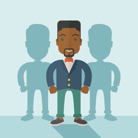 guy standing: A very confident black guy standing straight showing that he has a strong teambuilding togetherness. Teamwork concept. A contemporary style with pastel palette soft blue tinted background. Vector flat design illustration. Square layout. Illustration