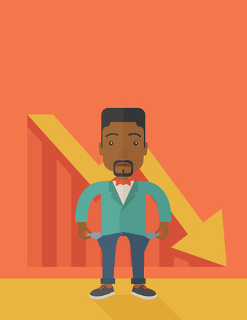 young man standing: An african young man standing and feels bad because of his failure in his business career. Failed, bankrupt concept. A contemporary style with pastel palette soft orange tinted background. Vector flat design illustration. vertical layout with text space o
