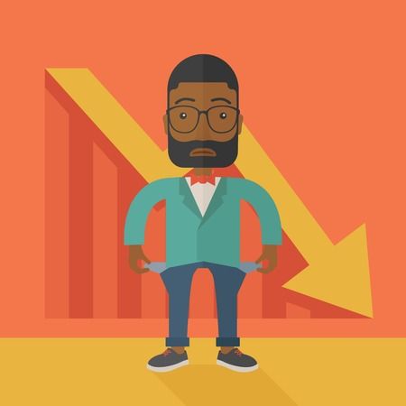 young man standing: An african young man standing and feels bad because of his failure in his business career. Failed, bankrupt concept. A contemporary style with pastel palette soft orange tinted background. Vector flat design illustration. Square layout. Illustration