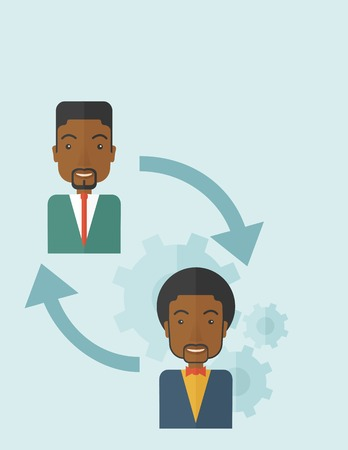 flexible business: Two black men in exchanging ideas. Partnership concept. A contemporary style with pastel palette soft blue tinted background. Vector flat design illustration. Vertical layout. Illustration