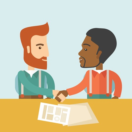 A white and black american businessmen handshaking and  having a business meeting with a contract to be sign. Business partnership concept. A contemporary style with pastel palette soft blue tinted background. Vector flat design illustration. Square layou Stok Fotoğraf - 41125285