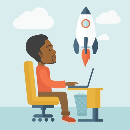 A black american man sitting with his laptop is searching for a new business project. Start up business concept. A contemporary style with pastel palette soft blue tinted background with desaturated clouds. Vector flat design illustration. Square layout.