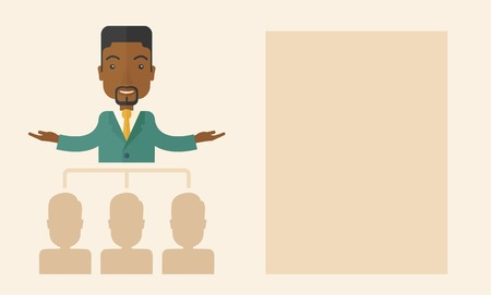 co workers: An african-american smart gentleman giving a business to his co workers. Business concept. A Contemporary style with pastel palette, soft beige tinted background. Vector flat design illustration. Horizontal layout.