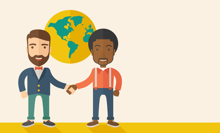 An american and black guy happily handshaking with their international or global world corporation business. Partnership concept. A Contemporary style with pastel palette, soft beige tinted background. Vector flat design illustration. Horizontal layout wi