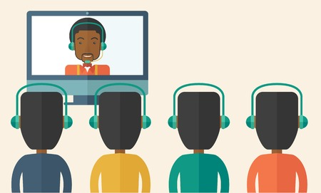 A group of employees with black guy in computer wearing headphones having a  business on line conference and communication meeting brainstorm. Leadership concept. A Contemporary style with pastel palette, soft beige tinted background. Vector flat design i Ilustração
