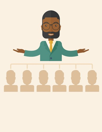 co workers: An african-american smart gentleman giving a business to his co workers. Business concept. A Contemporary style with pastel palette, soft beige tinted background. Vector flat design illustration. Vertical layout with text space on bottom part.
